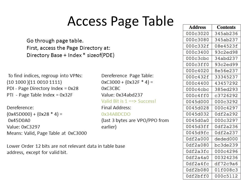 Access Page Table To find indices, regroup into VPNs: (10 1000 )(11 0010 1111) PDI - Page Directory Index = 0x28 PTI - Page Table Index = 0x32F Dereference: (0x45D000) + (0x28 * 4) = 0x45D0A0 Value: 0xC3297 Means: Valid, Page Table at 0xC3000 Lower Order 12 bits are not relevant data in table base address, except for valid bit.