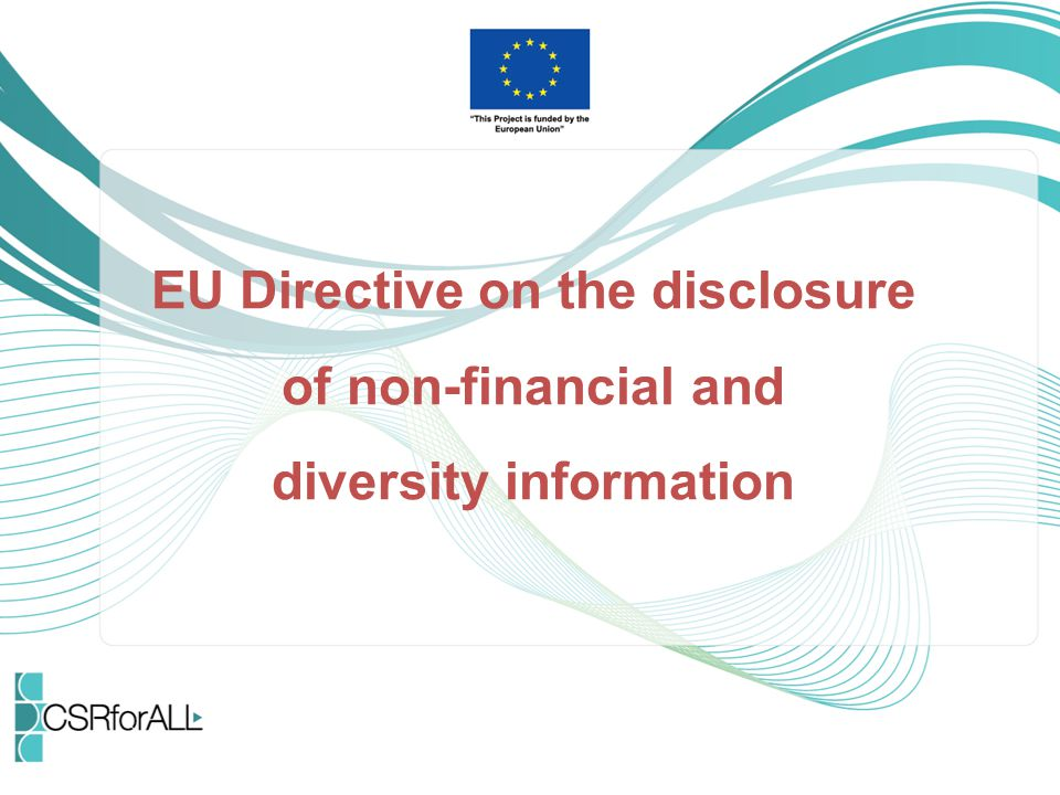 """Context In the EU CSR strategy from October 2011 """"A renewed EU strategy 2011-14 for Corporate Social Responsibility , the EU Commission announced to """"present a legislative proposal on the transparency of the social and environmental information provided by companies in all sectors ."""