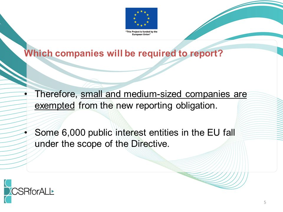 Which companies will be required to report? Therefore, small and medium-sized companies are exempted from the new reporting obligation. Some 6,000 pub