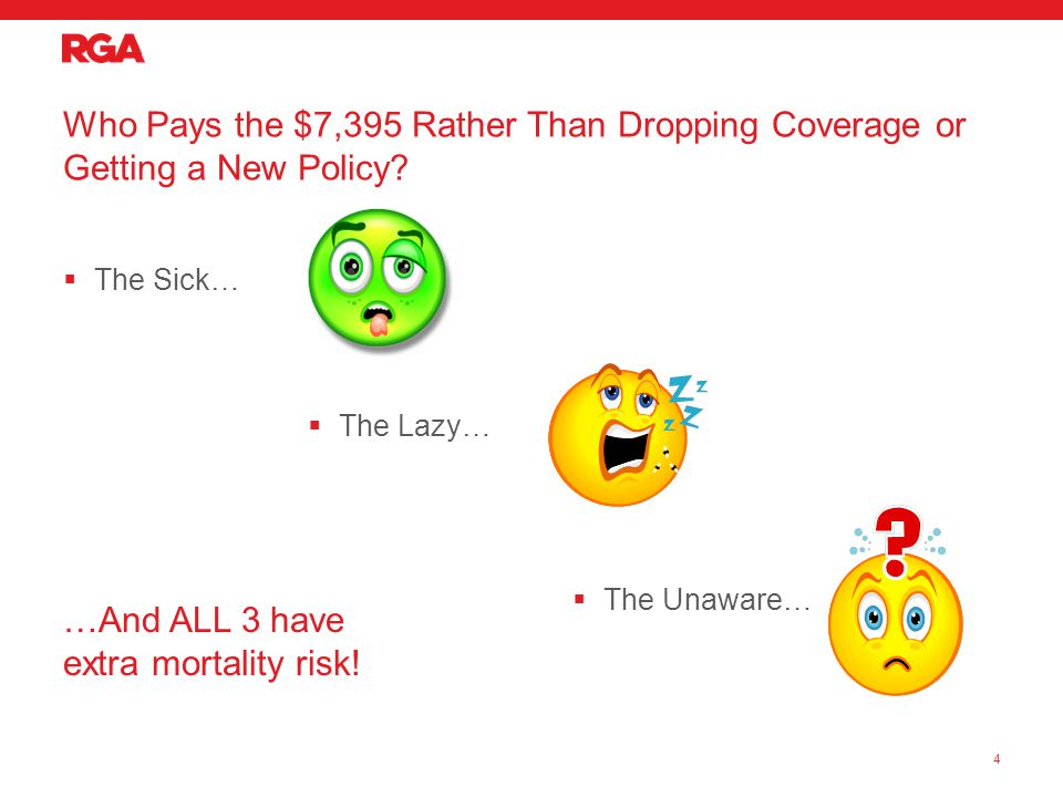  The Sick… Who Pays the $7,395 Rather Than Dropping Coverage or Getting a New Policy.
