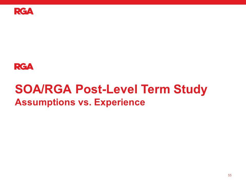 SOA/RGA Post-Level Term Study Assumptions vs. Experience 55