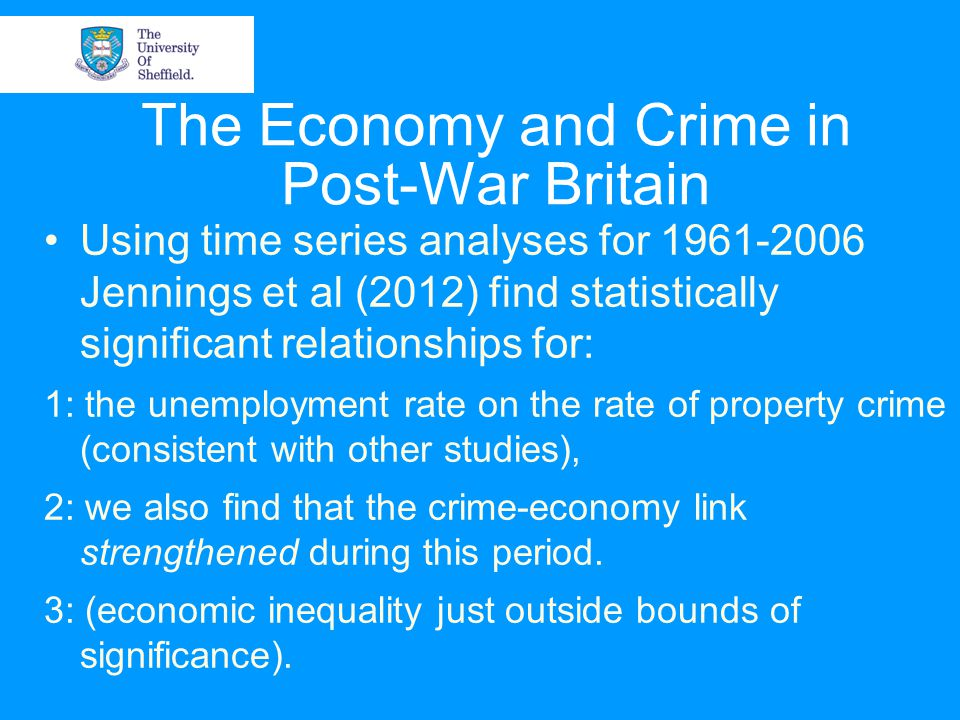 Using time series analyses for 1961-2006 Jennings et al (2012) find statistically significant relationships for: 1: the unemployment rate on the rate of property crime (consistent with other studies), 2: we also find that the crime-economy link strengthened during this period.