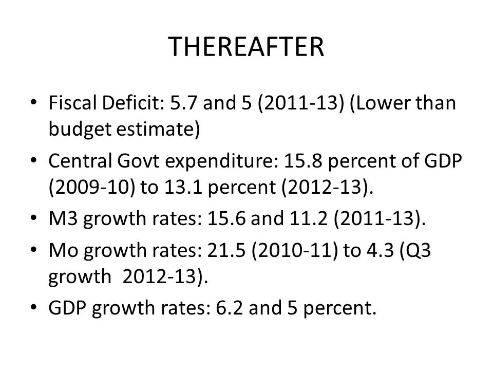 THEREAFTER Fiscal Deficit: 5.7 and 5 (2011-13) (Lower than budget estimate) Central Govt expenditure: 15.8 percent of GDP (2009-10) to 13.1 percent (2012-13).