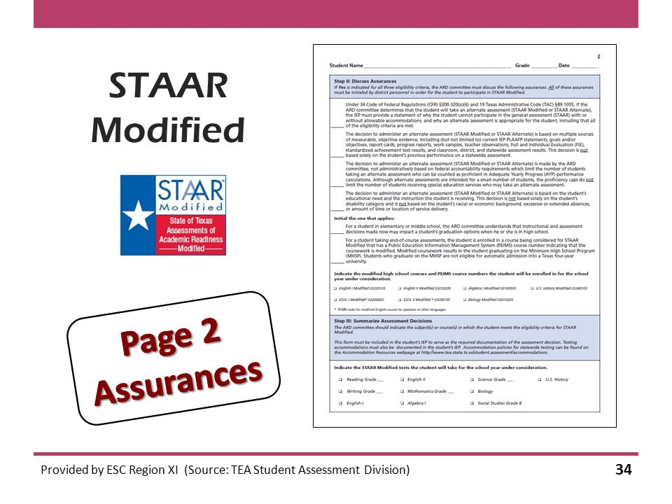 STAAR Modified Provided by ESC Region XI (Source: TEA Student Assessment Division) 34