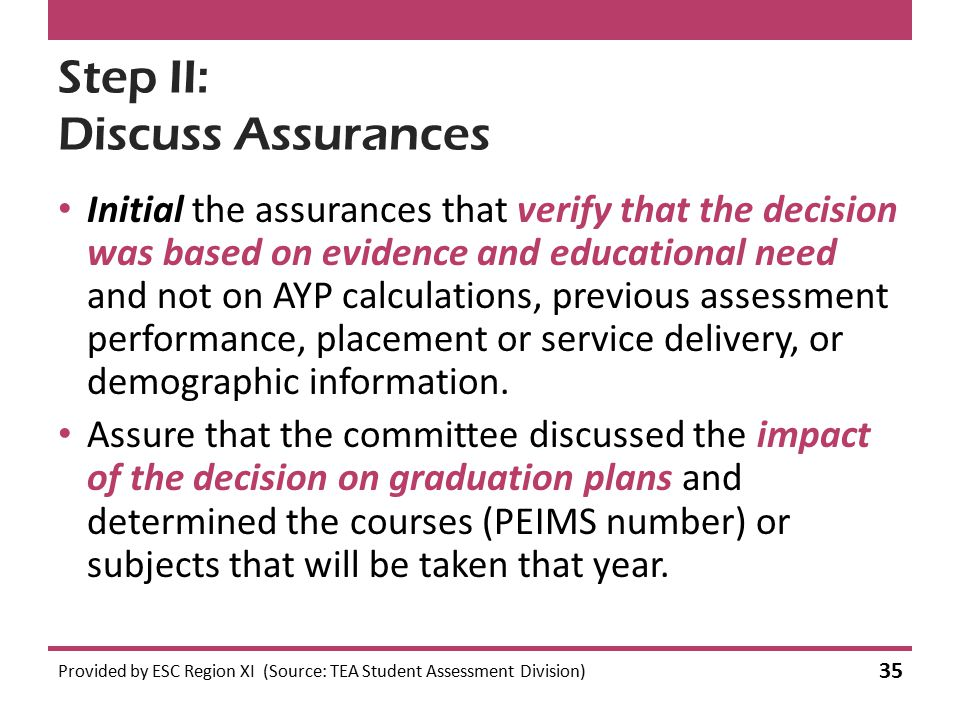 Step II: Discuss Assurances Initial the assurances that verify that the decision was based on evidence and educational need and not on AYP calculation
