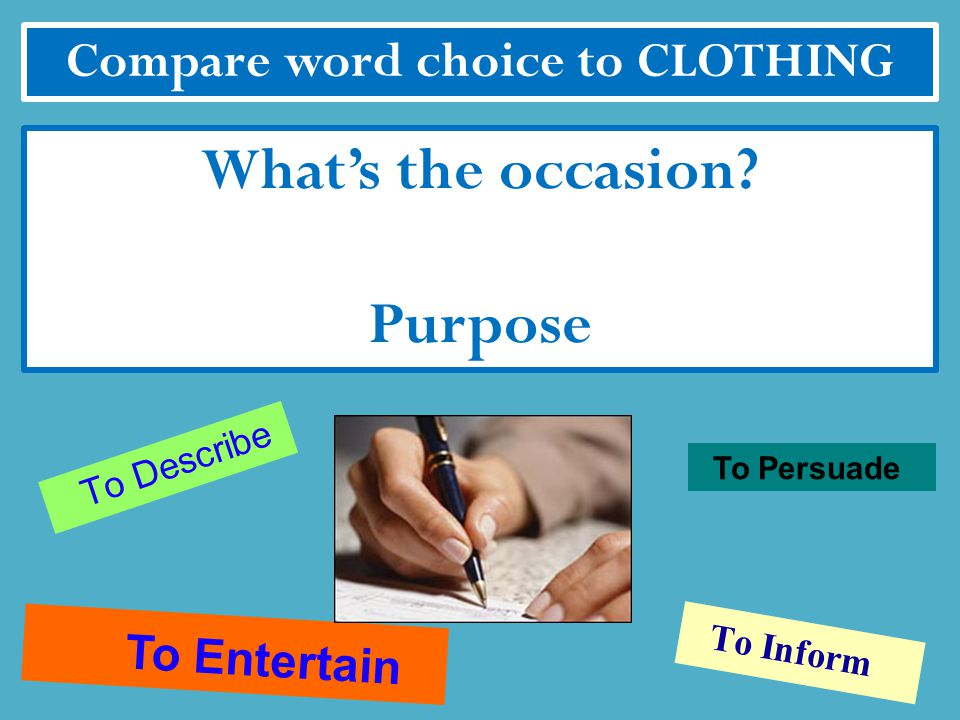 Compare word choice to CLOTHING Who will be there Audience
