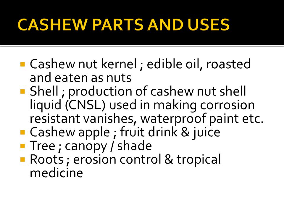  Cashew nut kernel ; edible oil, roasted and eaten as nuts  Shell ; production of cashew nut shell liquid (CNSL) used in making corrosion resistant vanishes, waterproof paint etc.