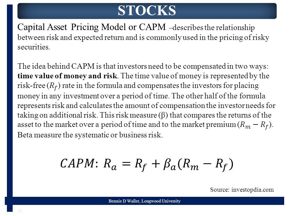 Bennie D Waller, Longwood University STOCKS Source: investopdia.com