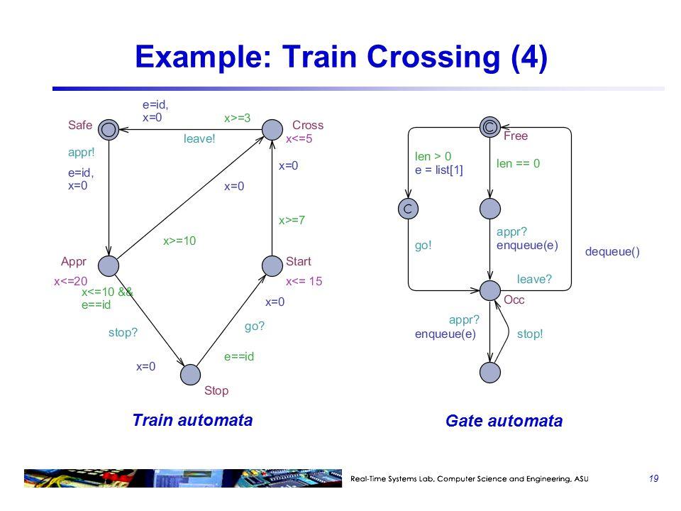 19 Example: Train Crossing (4) Train automata Gate automata