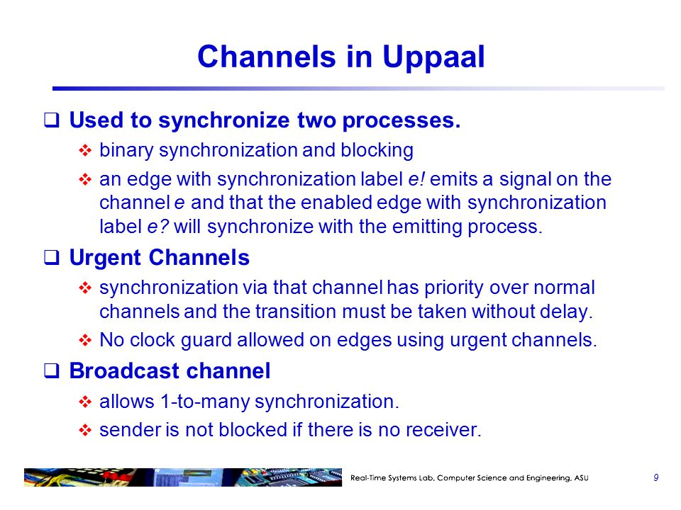 Channels in Uppaal  Used to synchronize two processes.