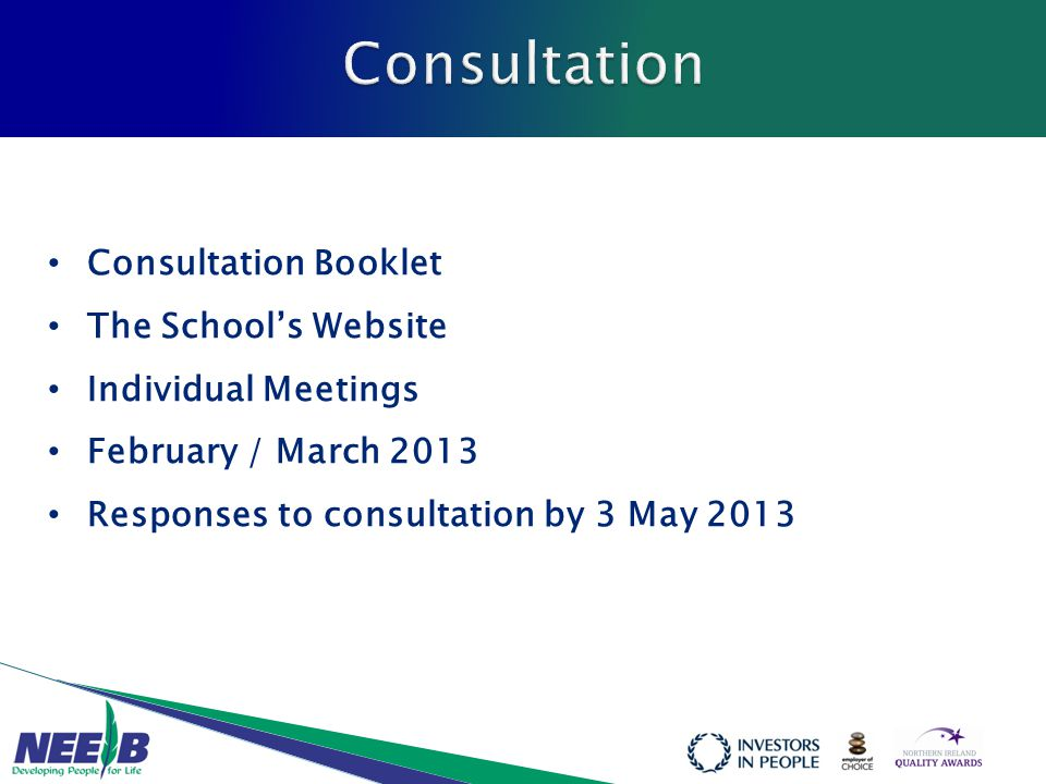 Consultation Booklet The School's Website Individual Meetings February / March 2013 Responses to consultation by 3 May 2013