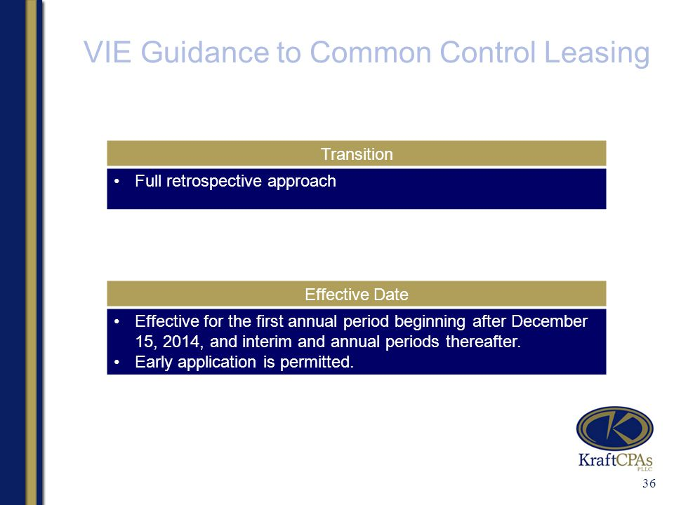 VIE Guidance to Common Control Leasing 36 Transition Full retrospective approach Effective Date Effective for the first annual period beginning after December 15, 2014, and interim and annual periods thereafter.