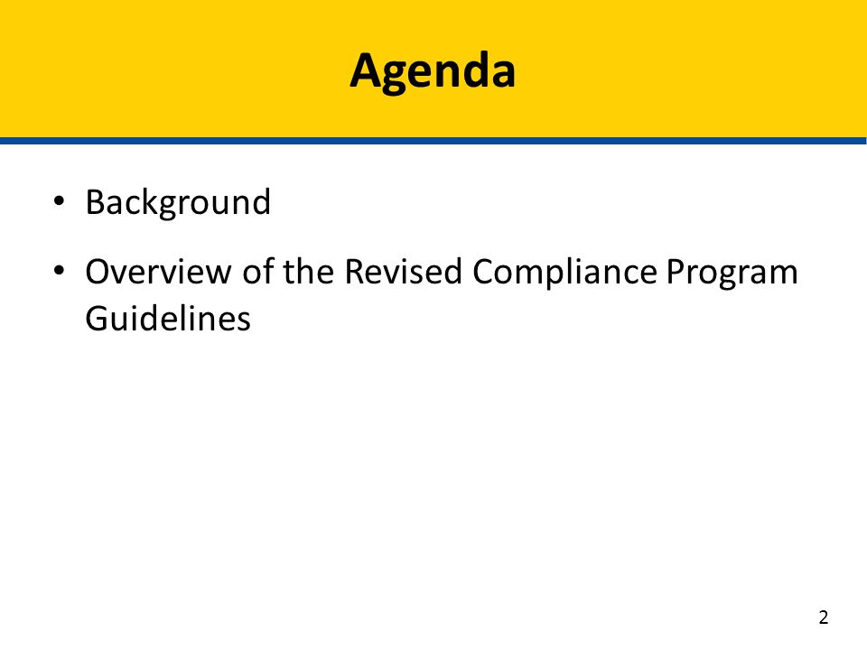 Background Overview of the Revised Compliance Program Guidelines Agenda 2