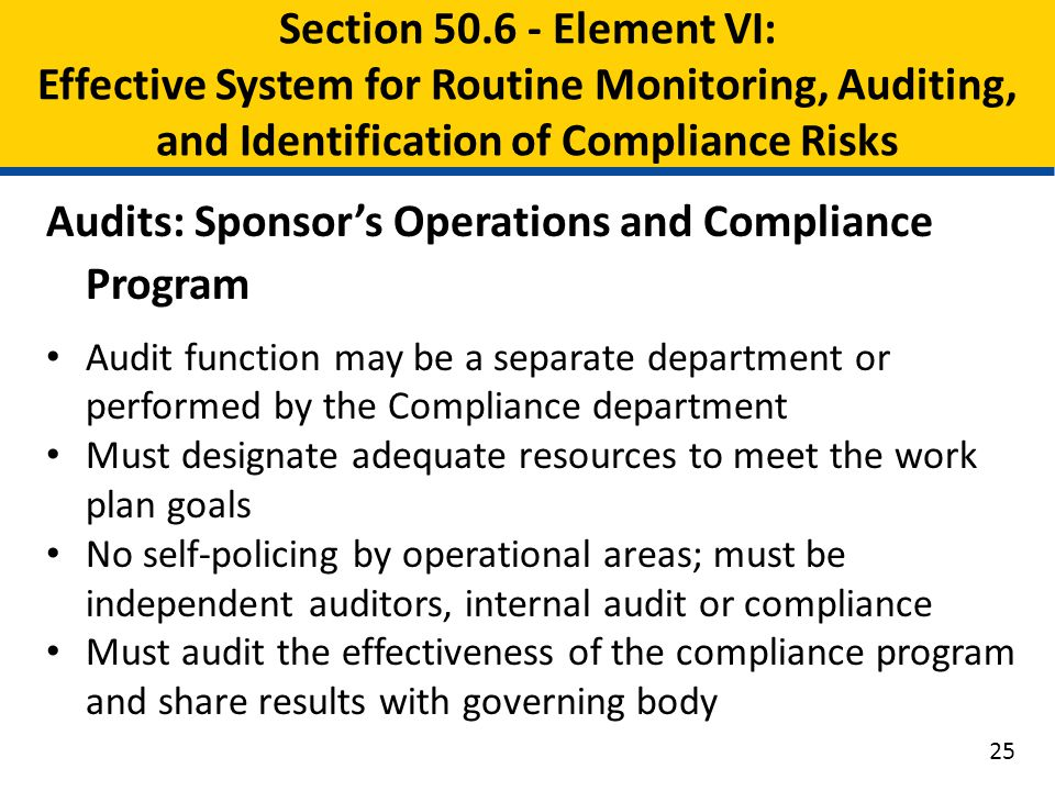 Audits: Sponsor's Operations and Compliance Program Audit function may be a separate department or performed by the Compliance department Must designa