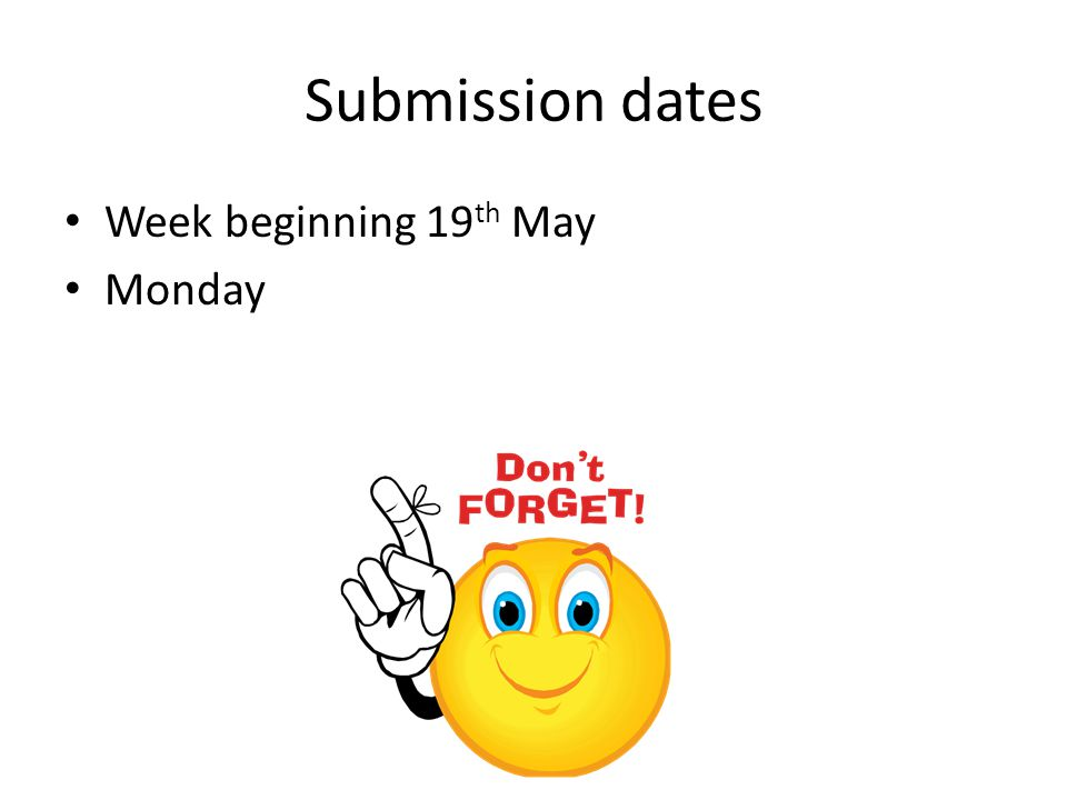 Submission dates Week beginning 19 th May Monday