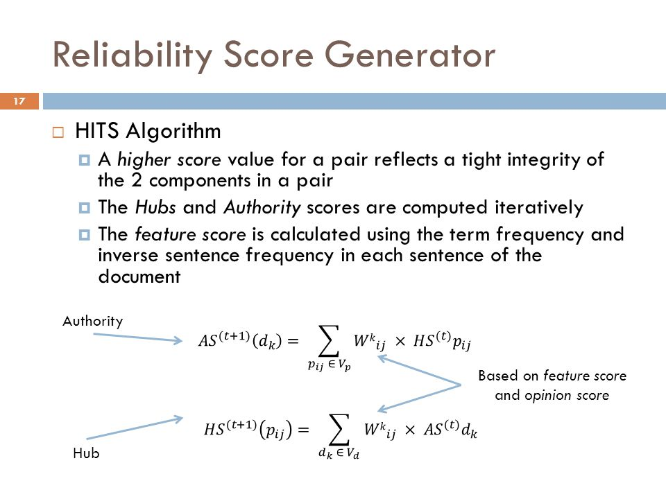 Reliability Score Generator 17  HITS Algorithm  A higher score value for a pair reflects a tight integrity of the 2 components in a pair  The Hubs and Authority scores are computed iteratively  The feature score is calculated using the term frequency and inverse sentence frequency in each sentence of the document Based on feature score and opinion score Authority Hub