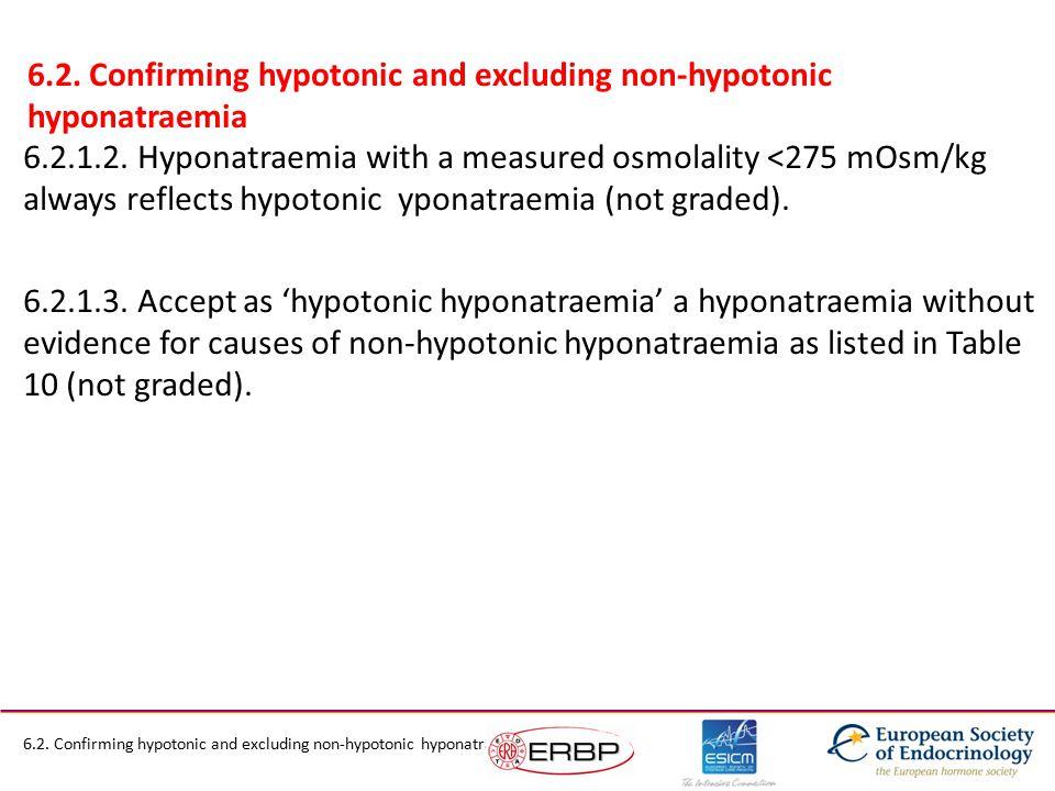 6.2.1.2. Hyponatraemia with a measured osmolality <275 mOsm/kg always reflects hypotonic yponatraemia (not graded). 6.2.1.3. Accept as 'hypotonic hypo