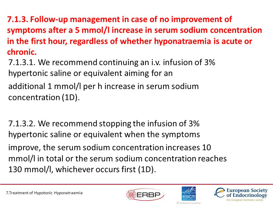 7.1.3. Follow-up management in case of no improvement of symptoms after a 5 mmol/l increase in serum sodium concentration in the first hour, regardles