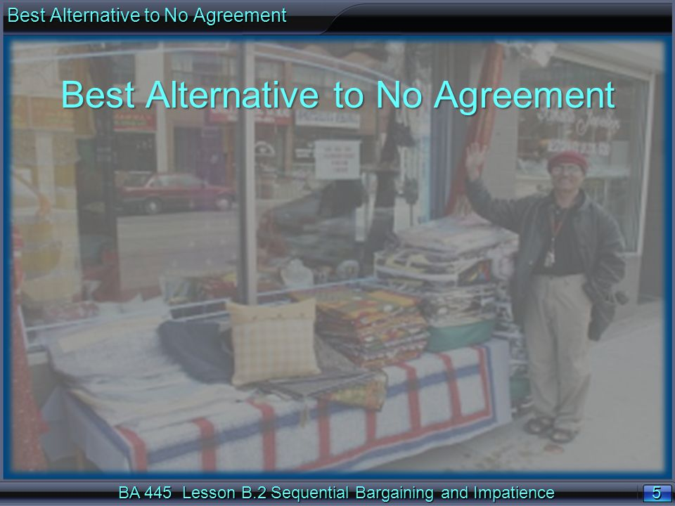 5 5 BA 445 Lesson B.2 Sequential Bargaining and Impatience Best Alternative to No Agreement