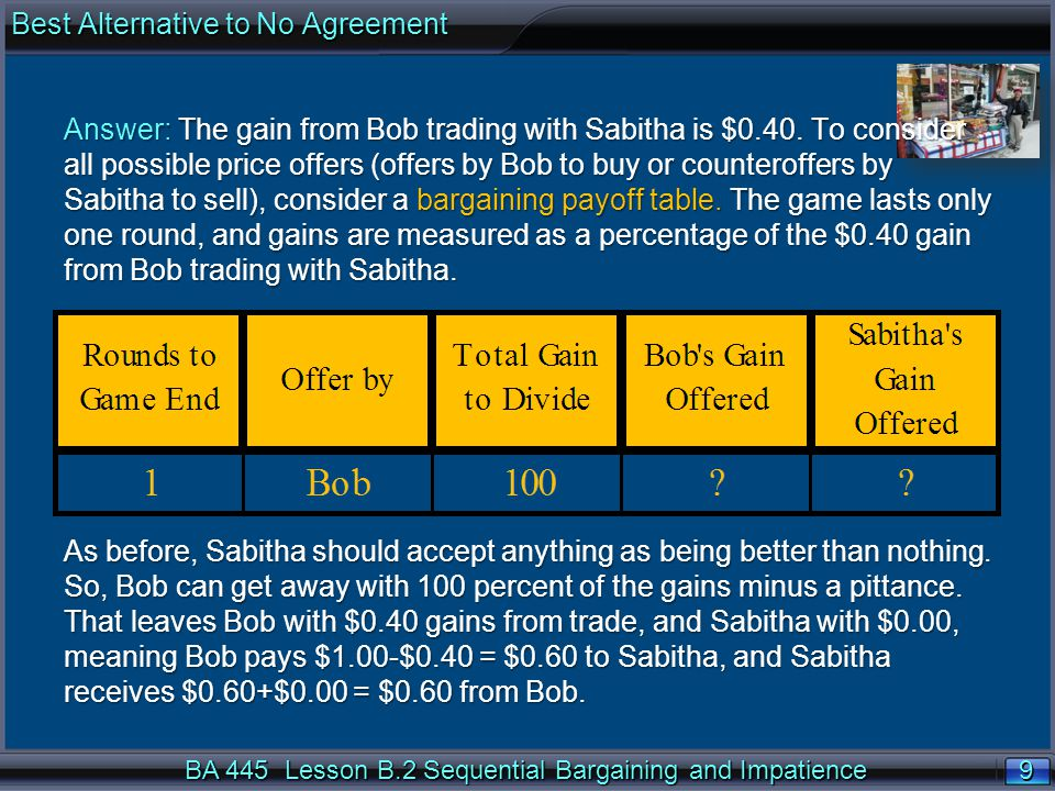 9 9 BA 445 Lesson B.2 Sequential Bargaining and Impatience Answer: The gain from Bob trading with Sabitha is $0.40.