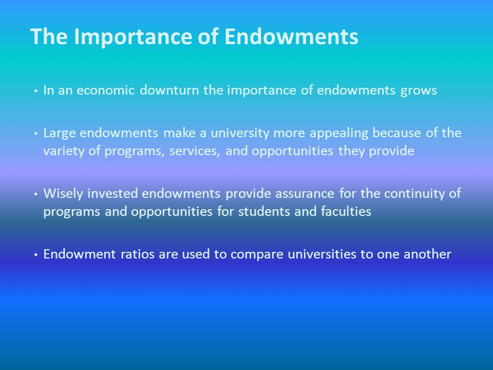 Accounting standards require that endowment principal (original and subsequent gifts) be recorded separate from the earnings and market gains and losses Pledges, although they are very important, are not tracked in Banner Finance, and an endowment fund at UNC Charlotte is not created when a pledge is received, but rather when payment is received on the pledge Financial Reporting Standards