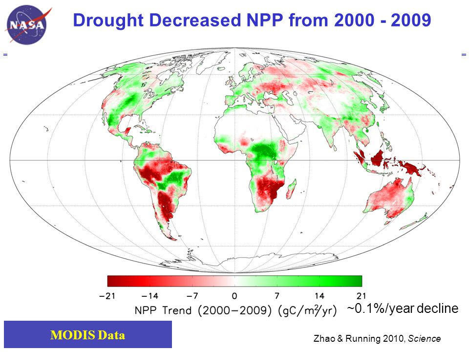 Drought Decreased NPP from 2000 - 2009 Zhao & Running 2010, Science MODIS Data ~0.1%/year decline