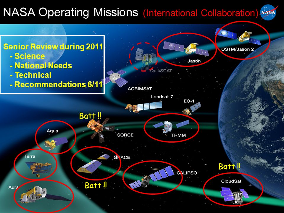 23 INTERNATIONAL COLLABORATIONS (2 of 2) CONAE (Argentina) – COSMIC real-time data provision (w/ NOAA) – SAC-D/Aquarius full mission collaboration JAXA (Japan) – TRMM, ASTER, AMSR-E extended missions – ALOS-TDRSS operational data transmission until mission end (April 11) – GOSAT/ACOS/OCO-2 (validation, OCO-2 algorithm refinement) – GPM DLR/GFZ (Germany) – GRACE extended mission – GRACE-FO productive discussions, same workshare as GRACE – DESDynI Radar unlikely but under discussion INPE (Brazil) – GPM Low-Inclination Orbiter discussions increasing
