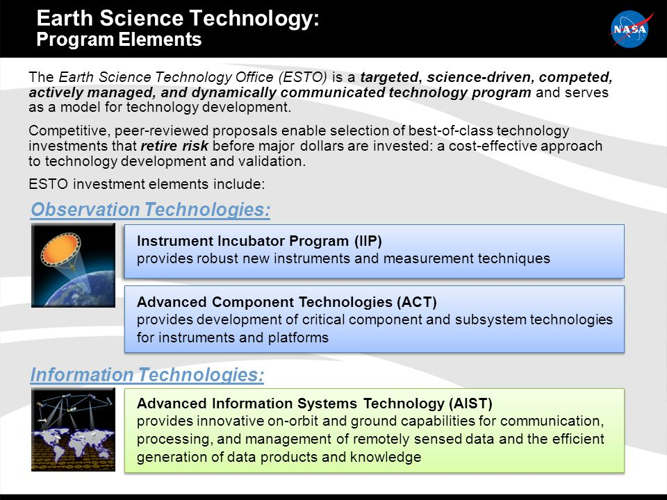 The Earth Science Technology Office (ESTO) is a targeted, science-driven, competed, actively managed, and dynamically communicated technology program and serves as a model for technology development.