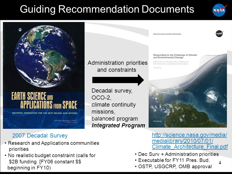 4 Guiding Recommendation Documents http://science.nasa.gov/media/ medialibrary/2010/07/01/ Climate_Architecture_Final.pdf 2007 Decadal Survey Administration priorities and constraints Decadal survey, OCO-2, climate continuity missions, balanced program Integrated Program Research and Applications communities priorities No realistic budget constraint (calls for $2B funding [FY06 constant $$ beginning in FY10) Dec Surv + Administration priorities Executable for FY11 Pres.