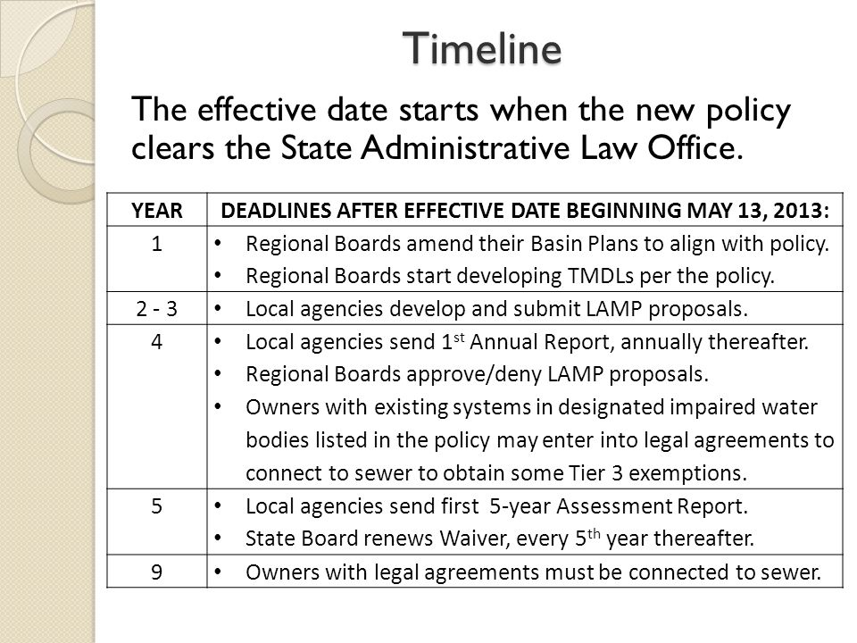 Timeline YEARDEADLINES AFTER EFFECTIVE DATE BEGINNING MAY 13, 2013: 1 Regional Boards amend their Basin Plans to align with policy.