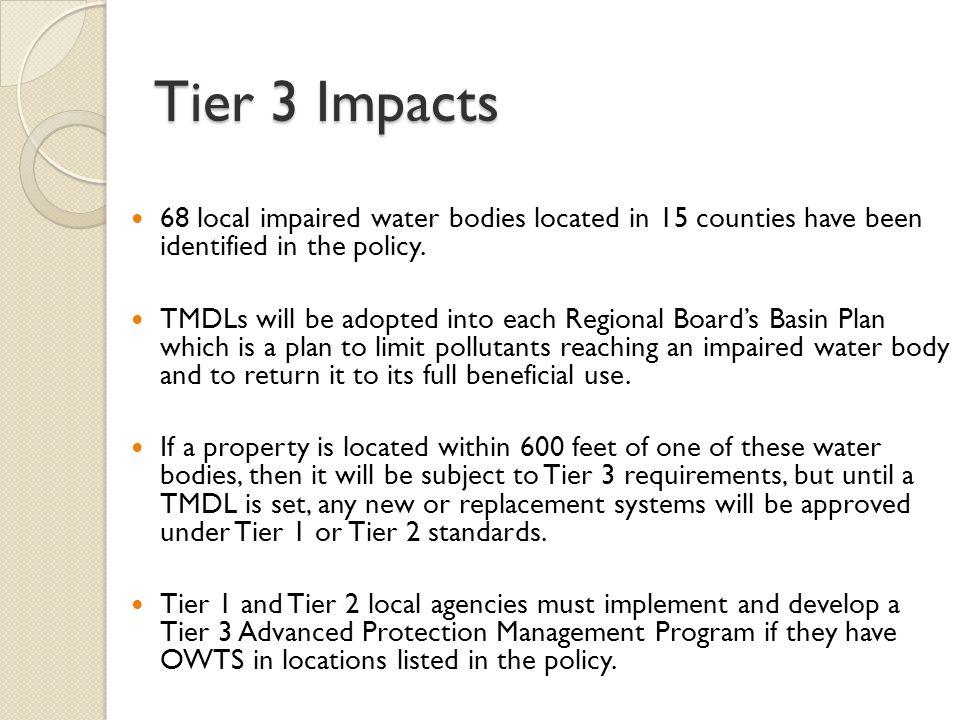 Reporting Requirements for Locals Reporting varies by tier.