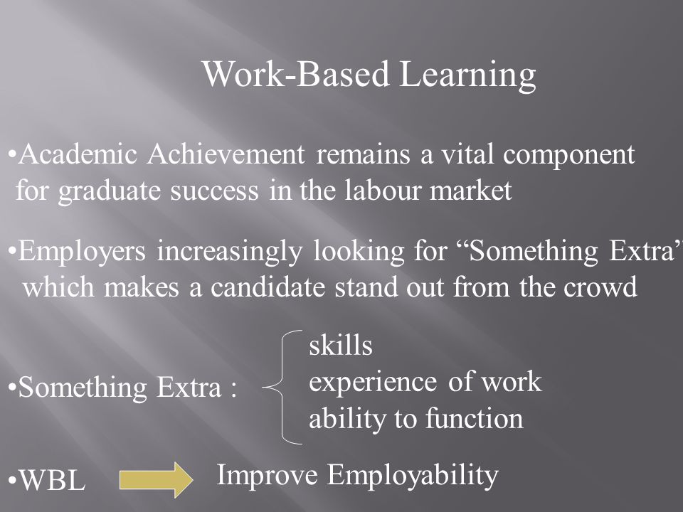 Work-Based Learning Academic Achievement remains a vital component for graduate success in the labour market Employers increasingly looking for Something Extra which makes a candidate stand out from the crowd Something Extra : skills experience of work ability to function WBL Improve Employability