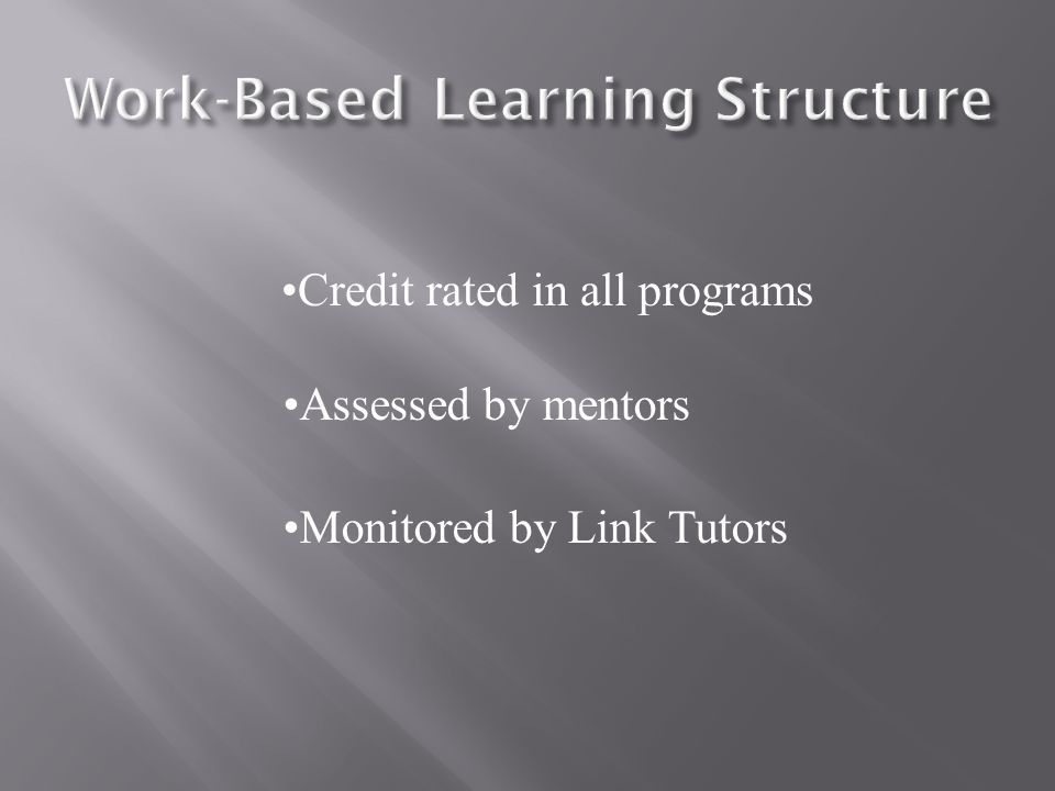 Credit rated in all programs Assessed by mentors Monitored by Link Tutors