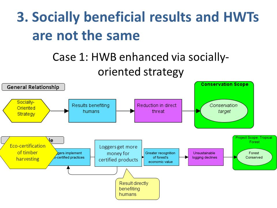 3. Socially beneficial results and HWTs are not the same Result directly benefiting humans Specific Example General Relationship Loggers get more mone