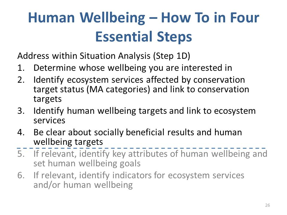 Human Wellbeing – How To in Four Essential Steps Address within Situation Analysis (Step 1D) 1.Determine whose wellbeing you are interested in 2.Identify ecosystem services affected by conservation target status (MA categories) and link to conservation targets 3.Identify human wellbeing targets and link to ecosystem services 4.Be clear about socially beneficial results and human wellbeing targets 5.If relevant, identify key attributes of human wellbeing and set human wellbeing goals 6.If relevant, identify indicators for ecosystem services and/or human wellbeing 26