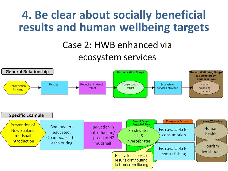 36 4. Be clear about socially beneficial results and human wellbeing targets Case 2: HWB enhanced via ecosystem services General Relationship Specific
