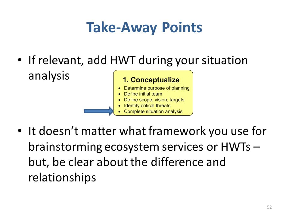 Take-Away Points 52 If relevant, add HWT during your situation analysis It doesn't matter what framework you use for brainstorming ecosystem services or HWTs – but, be clear about the difference and relationships
