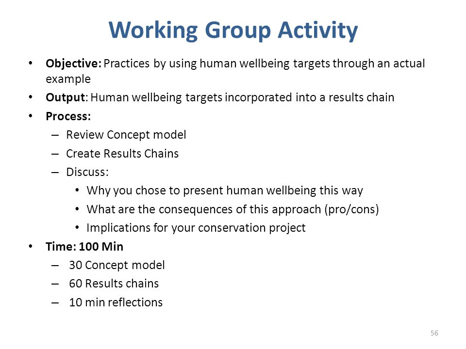 Working Group Activity Objective: Practices by using human wellbeing targets through an actual example Output: Human wellbeing targets incorporated into a results chain Process: – Review Concept model – Create Results Chains – Discuss: Why you chose to present human wellbeing this way What are the consequences of this approach (pro/cons) Implications for your conservation project Time: 100 Min – 30 Concept model – 60 Results chains – 10 min reflections 56