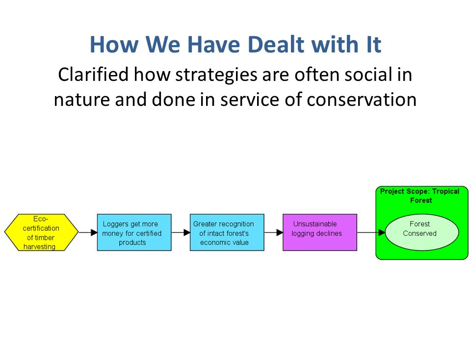 How We Have Dealt with It Clarified how strategies are often social in nature and done in service of conservation