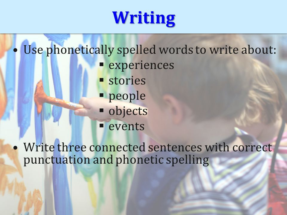 WritingWriting Use phonetically spelled words to write about:  experiences  stories  people  objects  events Write three connected sentences with correct punctuation and phonetic spelling