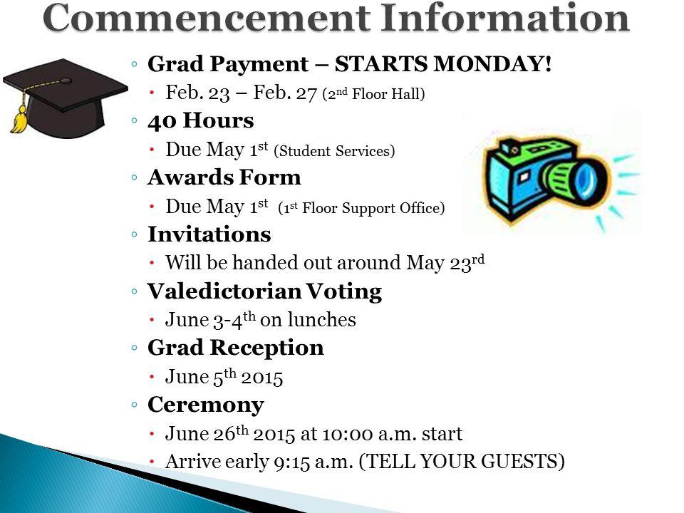 ◦ Grad Payment – STARTS MONDAY.  Feb. 23 – Feb.