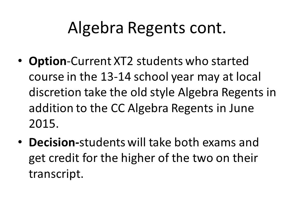 Algebra Regents cont.