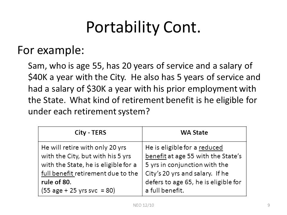 Portability Cont. For example: Sam, who is age 55, has 20 years of service and a salary of $40K a year with the City. He also has 5 years of service a