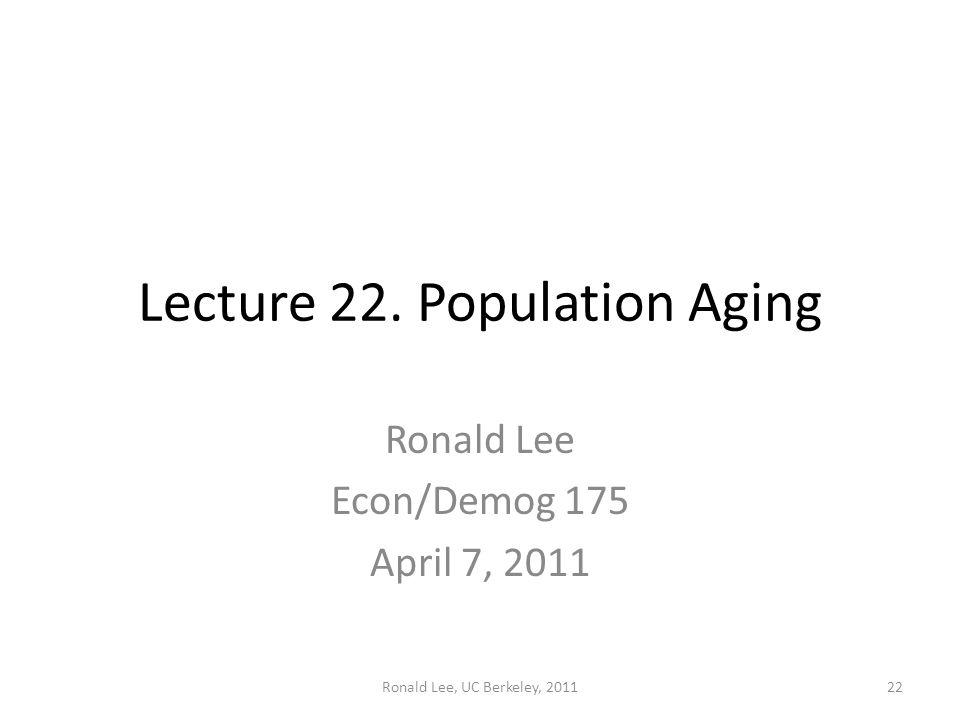 Ronald Lee, UC Berkeley, 201122 Lecture 22. Population Aging Ronald Lee Econ/Demog 175 April 7, 2011