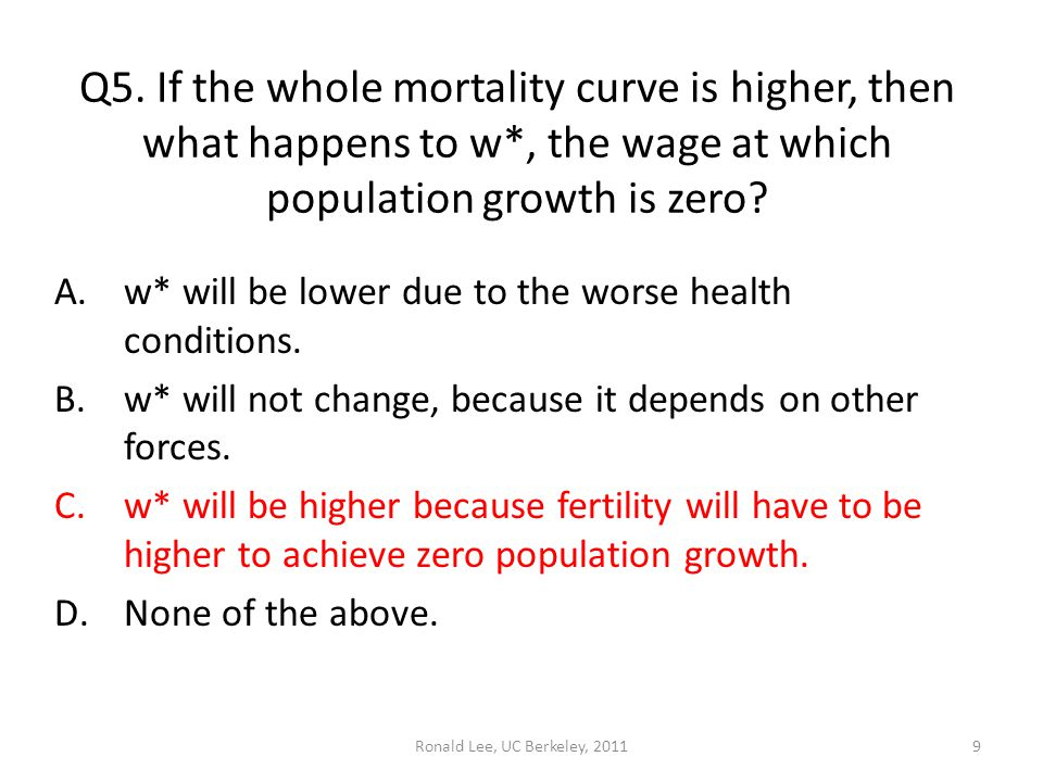 Ronald Lee, UC Berkeley, 20119 Q5. If the whole mortality curve is higher, then what happens to w*, the wage at which population growth is zero? A.w*