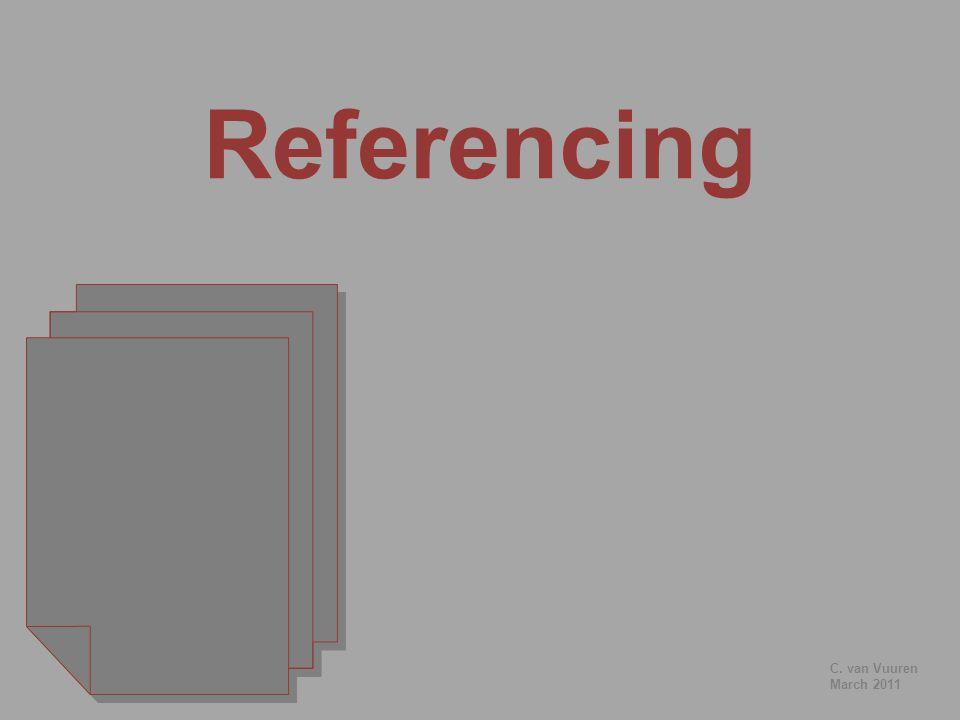 Referencing C. van Vuuren March 2011
