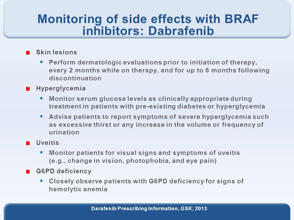 Monitoring of side effects with BRAF inhibitors: Dabrafenib Darafenib Prescribing Information, GSK; 2013 Skin lesions  Perform dermatologic evaluatio