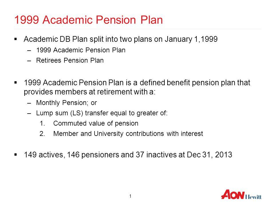 1 1999 Academic Pension Plan  Academic DB Plan split into two plans on January 1,1999 –1999 Academic Pension Plan –Retirees Pension Plan  1999 Acade