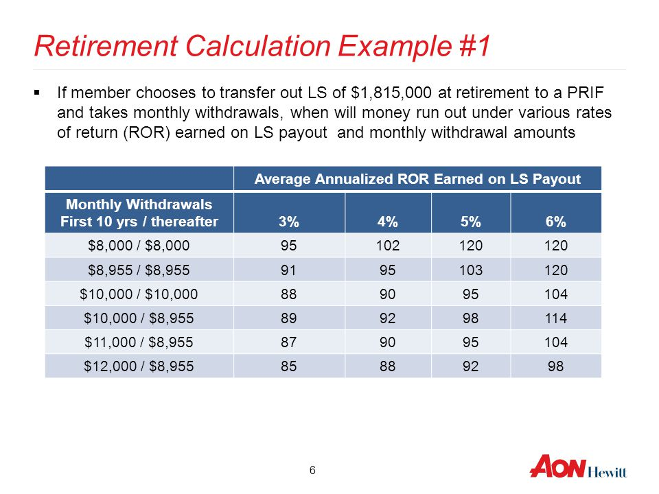 6 Retirement Calculation Example #1  If member chooses to transfer out LS of $1,815,000 at retirement to a PRIF and takes monthly withdrawals, when w