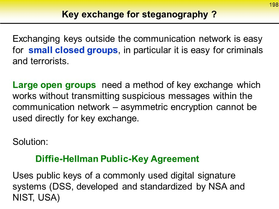 198 Exchanging keys outside the communication network is easy for small closed groups, in particular it is easy for criminals and terrorists.